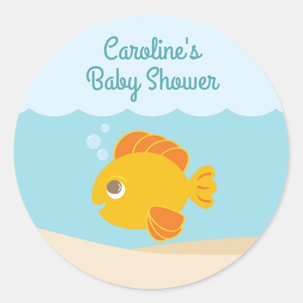 Under the Sea Baby Shower Round Sticker blue-green