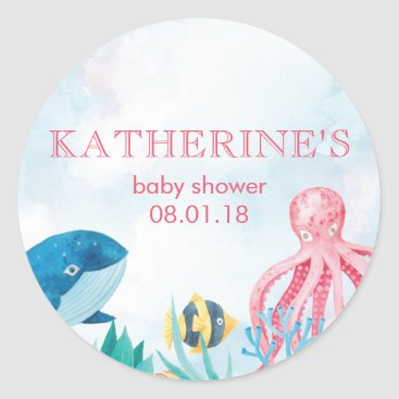 Beach Themed Under the Sea Baby Shower Stickers