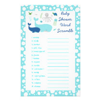Under The Sea Baby Shower Word Scramble Game Flyer