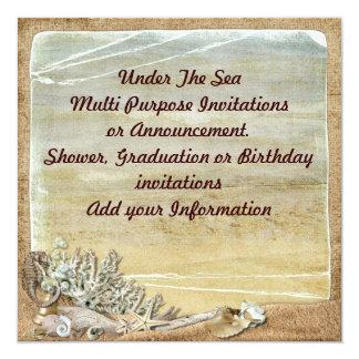 """Under the Sea Beach Multi purpose Invitation 5.25"""" Square Invitation Card"""