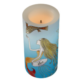 Under the Sea Beautiful Mermaid Personalized Flameless Candle