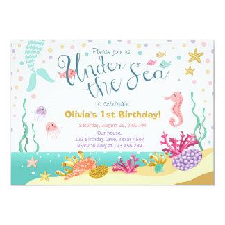 Under the Sea Birthday Invitation Mermaid Purple