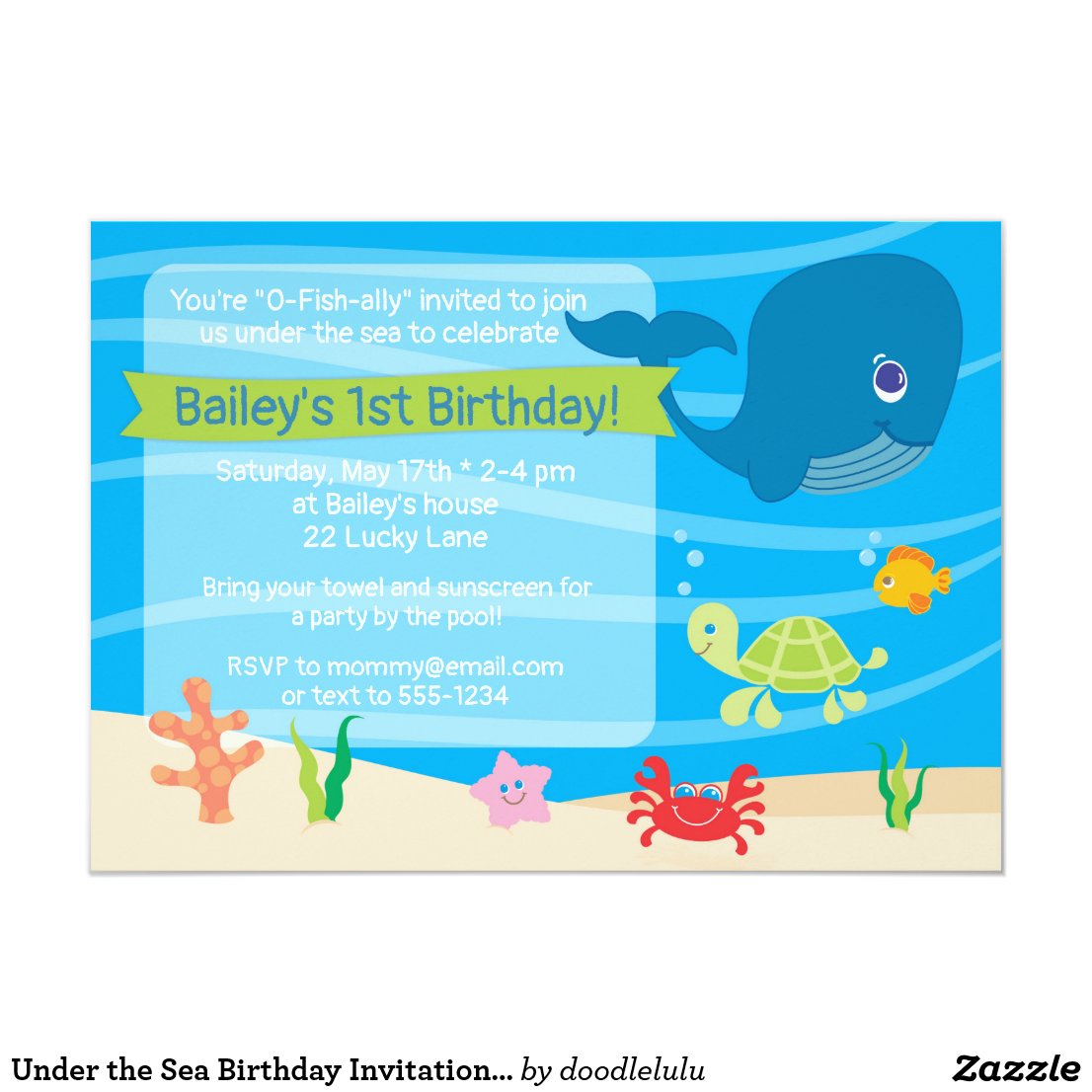 Under the Sea Birthday Invitation Whale