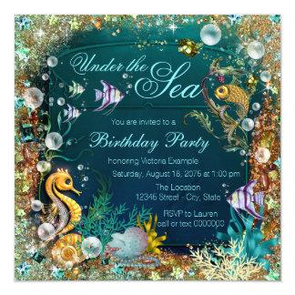 Under the Sea Birthday Party 5.25x5.25 Square Paper Invitation Card
