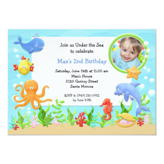 "Under the Sea Birthday Party Invitation 5"" X 7"" Invitation Card"