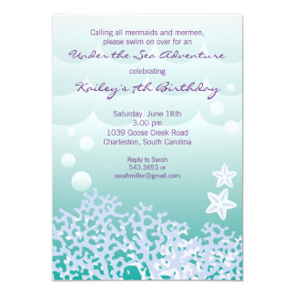 under the sea birthday party invitation aqua - Under The Sea Party Invitations