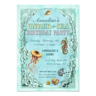 Under the Sea Birthday Party Invitation - Pink