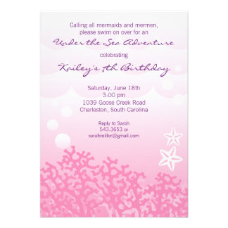 Under the Sea Birthday Party Invitation (Pink)