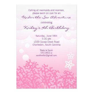 Under the Sea Birthday Party Invitation (Pink)