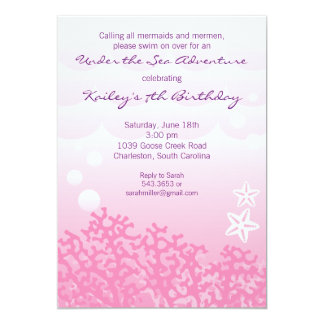 "Under the Sea Birthday Party Invitation (Pink) 5"" X 7"" Invitation Card"