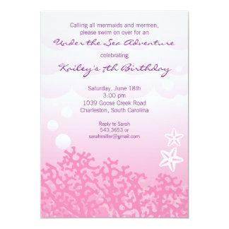 "Under the Sea Birthday Party Invitation (Pink) 5"" X 7"" Invitation Card"