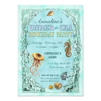 """Under the Sea Birthday Party Invitation - Purple 5"""" X 7"""" Invitation Card"""