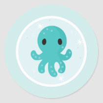 Under the Sea Birthday Party Octopus Classic Round Sticker