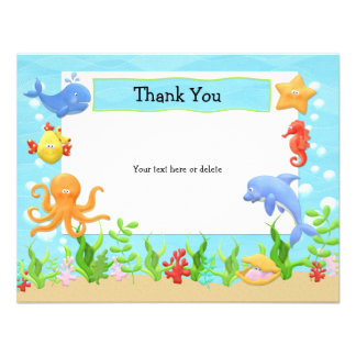 Under the Sea Birthday Party Thank You Card Personalized Invitations