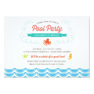 Under the Sea Birthday Pool Party Invite