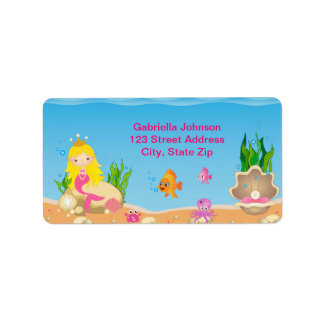 Under the Sea Blonde Mermaid Address Label