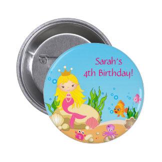 Under the Sea Blonde Mermaid Birthday Button