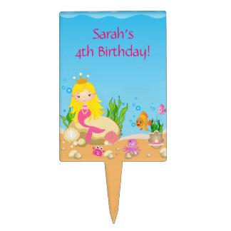 Under the Sea Blonde Mermaid Birthday Cake Topper