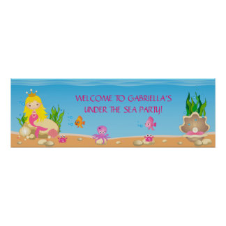 Under the Sea Blonde Mermaid Birthday Party Banner Poster