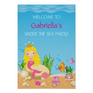 Under the Sea Blonde Mermaid Birthday Party Poster