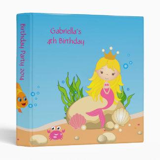 Under the Sea Blonde Mermaid Birthday Photo Album 3 Ring Binder