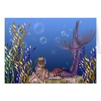 Under the Sea Blonde Mermaid Greeting Card