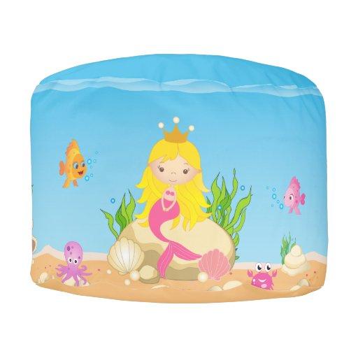 Under The Sea Blonde Mermaid Monogram Round Pouf Zazzle