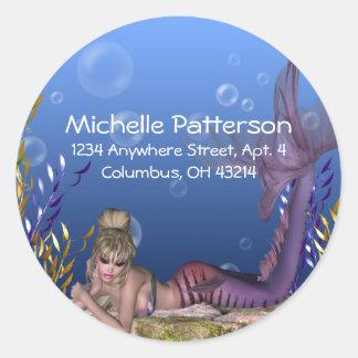 Under the Sea Blonde Mermaid Return Address Labels Classic Round Sticker
