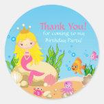 Under the Sea Blonde Mermaid Thank You Sticker