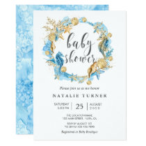 Under the Sea Blue and Gold Baby Shower Invitation