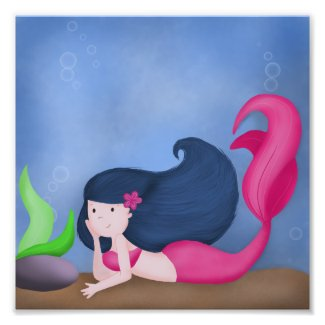 Under the Sea Blue and Pink Mermaid Wall Art