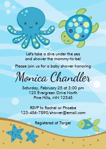 Under the sea baby shower invitations zazzle under the sea blue baby shower invitation card filmwisefo