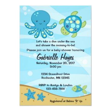 InvitingExpression Under the Sea Blue Baby Shower Invitations