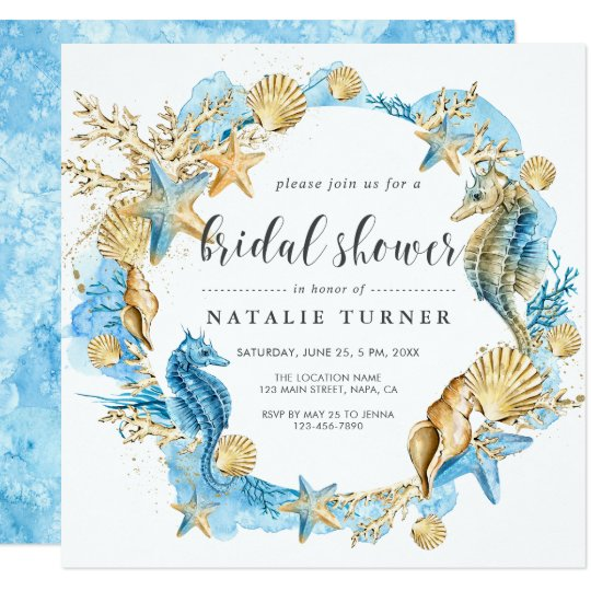 Under the sea blue gold bridal shower invitation zazzle under the sea blue gold bridal shower invitation filmwisefo
