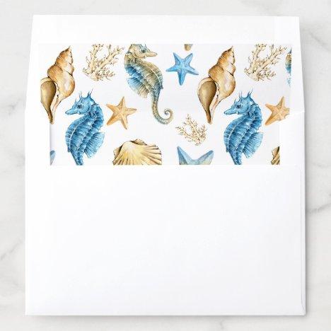 Under the Sea Blue & Gold Envelope Liner