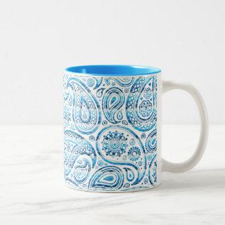 """Under The Sea"" Blue Paisley on white background Coffee Mug"