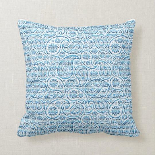"""Under The Sea"" Blue Paisley on white background Throw Pillow"