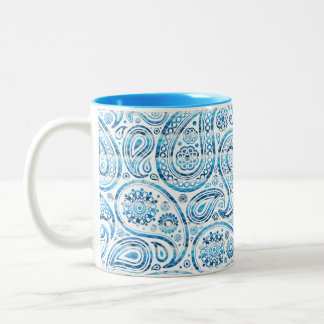"""Under The Sea"" Blue Paisley on white background Two-Tone Coffee Mug"