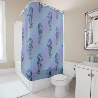 Under the Sea Blue Seahorses Shower Curtain