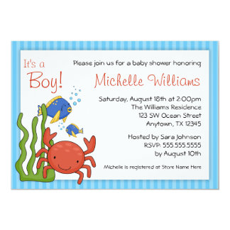 Under the Sea Blue Stripes Boy Baby Shower 5x7 Paper Invitation Card