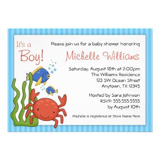 Under the Sea Blue Stripes Boy Baby Shower Personalized Announcements
