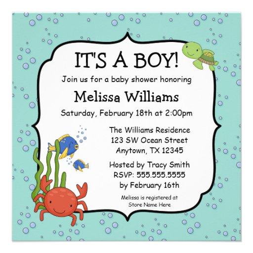 under the sea bubbles boy baby shower invitations square