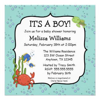 Under the Sea Bubbles Boy Baby Shower Invitations Invitation