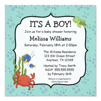 Under the Sea Bubbles Boy Baby Shower Invitations