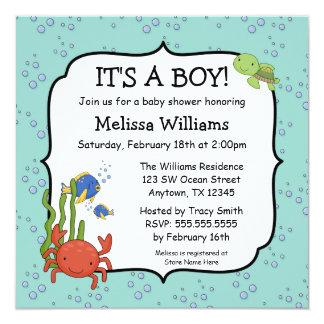 under the sea bubbles boy baby shower invitations
