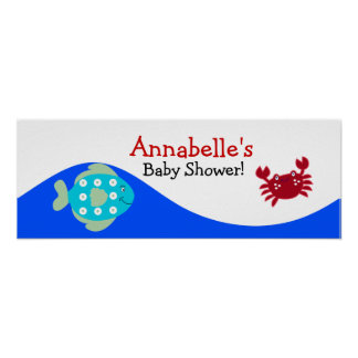 Under the Sea Calypso Baby Shower Banner Poster