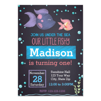 Under the Sea Chalkboard Birthday Invitation