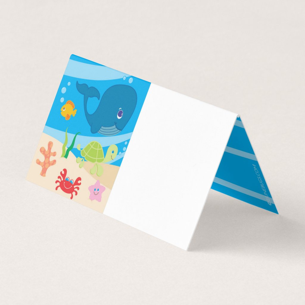 Under the Sea Creatures Birthday Place Card