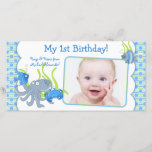 """Under the Sea Critters Boy 1st Birthday Photocard Announcement<br><div class=""""desc"""">The text and baby photo on this cute boy underwater cartoon critters birthday photo template photo card are fully customizable. To change the text and photo, use the personalize options. For more extensive changes to the card, including changes to the font, font color, font size, photo size, and/or text/photo placement,...</div>"""