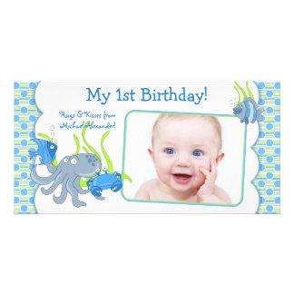 Under the Sea Critters Boy 1st Birthday Photocard Card